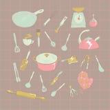 Küchen-Ikonensatz des Vektors Hand gezeichneter Stockbilder