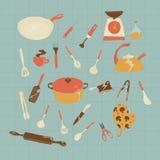 Küchen-Ikonensatz des Vektors Hand gezeichneter Lizenzfreie Stockfotos