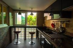 Küchen-Innenarchitektur-Architektur Stockbild