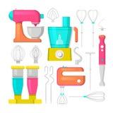 Küchen-Mischer-und Mischmaschinen-Ikonen stellten kulinarisch ein stock abbildung