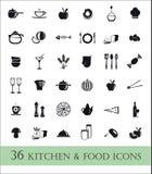 36 Küchen- und Lebensmittelikonen Stockfotografie