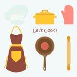 Küchen-Werkzeuge, die Satz, flache Vektor-Illustration kochen Lizenzfreie Stockbilder