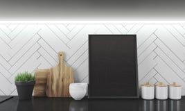 Küchenarbeitsplatte und weiße Wand Lizenzfreie Stockfotos