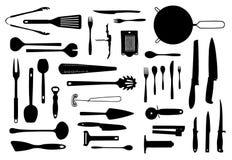 Küchenausrüstungs- und -tischbesteckschattenbildsatz Stockbild