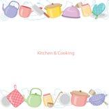 Küchenausrüstungshintergrund Stockfoto
