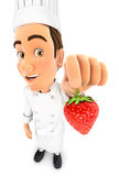 Küchenchef 3d, der eine Erdbeere hält stock abbildung