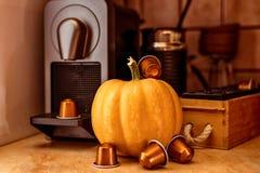 Küchendekoration, Kürbis, Kaffee Lizenzfreie Stockbilder