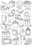 Küchengeräte eingestellt Küchengerätgekritzel Stockfoto