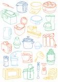 Küchengeräte eingestellt Küchengerätgekritzel Stockfotografie