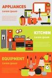 Küchengeräte und flache Fahne der Ausrüstung, Satz mit lokalisierter Illustration, für Verkäufe und Werbung Stockfotos