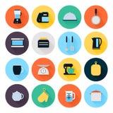 Küchengeräte und flache Ikonen des Kochgeschirrs eingestellt Stock Abbildung