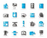 Küchengeräte und Küchengeschirrikonen Stockfotografie