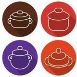 Küchengeräte und Kochgeschirrlinie Kunstdesign lizenzfreie abbildung