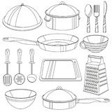 Küchengeschirrmalbuch Vektorillustration für Kinder Stockfotos