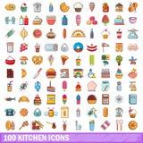 100 Küchenikonen eingestellt, Karikaturart Stockfoto