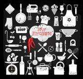 Küchenikonen eingestellt von den Werkzeugen Stockfoto