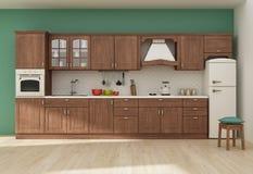 Kücheninnen-Wiedergabe 3D Stockfotografie
