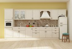 Kücheninnen-Wiedergabe 3D Lizenzfreie Stockfotos