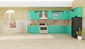 Kücheninnen-Wiedergabe 3D Stockbilder