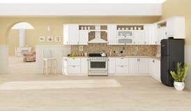 Kücheninnen-Wiedergabe 3D Lizenzfreies Stockbild