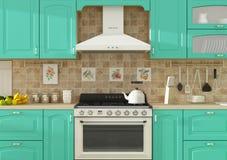 Kücheninnen-Wiedergabe 3D Lizenzfreies Stockfoto