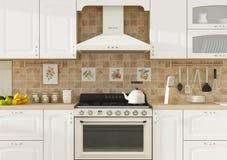Kücheninnen-Wiedergabe 3D Stockfoto
