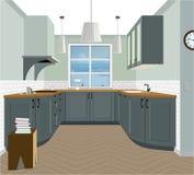 Kücheninnenhintergrund mit Möbeln Design der modernen Küche Symbolmöbel, Küchenillustration Stockbild