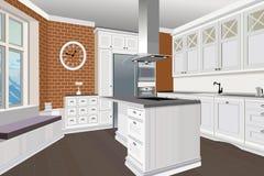 Kücheninnenhintergrund mit Möbeln Design der modernen Küche Symbolmöbel Küchenillustration Lizenzfreies Stockbild