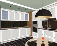Kücheninnenhintergrund mit Möbeln Entwurf Stockfotografie