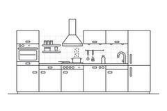 Kücheninnenlinie Kunstvektorillustration stockfoto