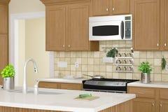 Kücheninnennahaufnahme mit Kräutern Stockbilder