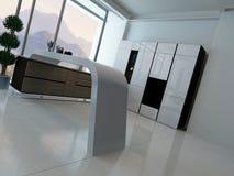 Kücheninnenraum mit Landschaftsansicht Stockfotos