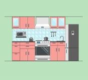 Kücheninnenraum mit Möbeln Stockbild