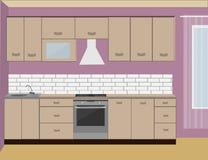 Kücheninnenraum mit purpurroter Wand Lizenzfreies Stockfoto