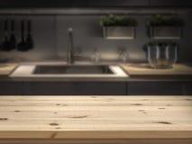 Kücheninsel mit Holztischspitze für Produktanzeigenmontage lizenzfreie stockbilder