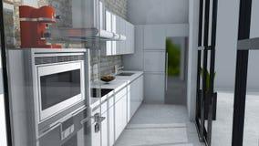 Küchenmöbel, Innenarchitektur, Küchenmöbel Möbel und Geräte für die Küche Stockbild