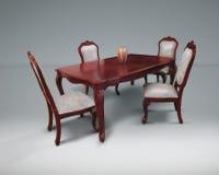 Küchenmöbel, Küche stellten mit weißem Gewebe im Retrostil ein Holztisch für das Wohnzimmer Lizenzfreie Stockfotografie