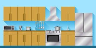 Küchenmöbel und -geräte Stockbild