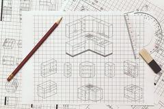 Küchenplan Stockfoto