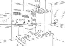 Küchenraumgrafischer schwarzer weißer Hauptinnenskizzen-Illustrationsvektor Lizenzfreies Stockbild