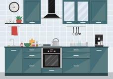 Küchenrauminnenraum mit Geräten und Möbeln Stockfotografie