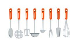 Küchenschöpflöffel, der flache Vektorillustration der kulinarischen silbernen Hauptausrüstung kocht Lizenzfreie Stockfotografie
