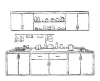 Küchenschrank, Küche legt beiseite, die gezeichnete Hand Stockfotos