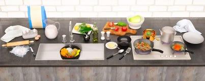 Küchentisch mit Bestandteilen und Geräten Panorama Stockbild