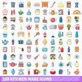 100 Küchenwarenikonen eingestellt, Karikaturart Stockfotografie