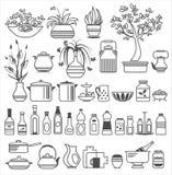 Küchenwerkzeuge und -geräte. Vektorillustration Stockfoto