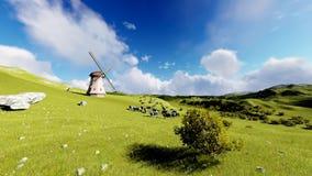 Kühe auf der Wiese und der alten Windmühle stock footage