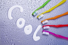 Kühle bunte Zahnbürsten Stockfoto