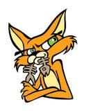 Kühle Cat Icon mit einem Knochenfisch in seinem Mund Lizenzfreies Stockfoto