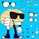 Kühle Gehirnkarikaturhippie-Artausdrücke eingestellt Stockbild